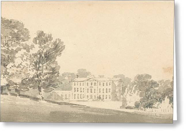 A Three Storied Georgian House In A Park Greeting Card by Joseph Mallord William Turner