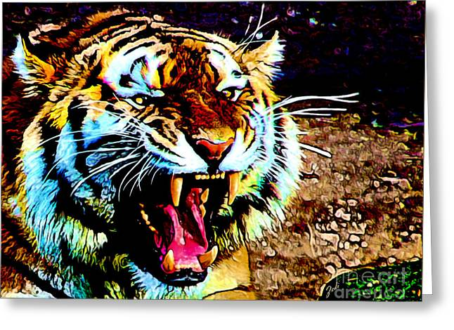 A Tiger's Roar Greeting Card by Zedi