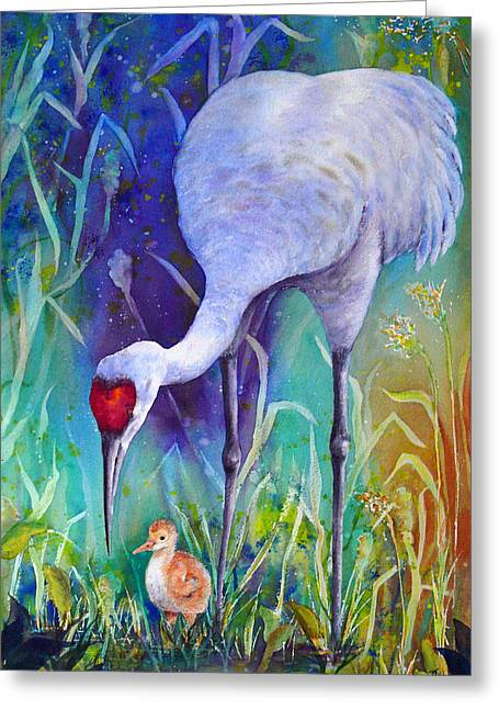 Sandhill Cranes Paintings Greeting Cards - A Time to Nurture Greeting Card by Dee Carpenter