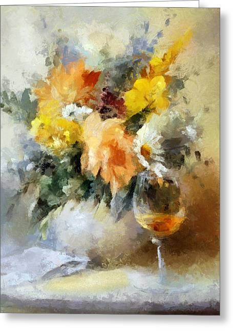 A Toast And A Bouquet For Ellen Greeting Card
