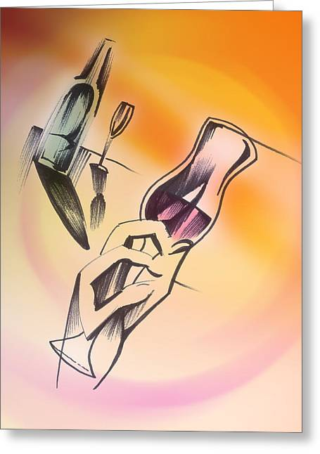 Greeting Card featuring the drawing A Toast by Keith A Link