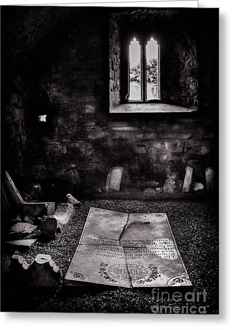 Greeting Card featuring the photograph A Tombstone In Sligo Abbey Bw by RicardMN Photography