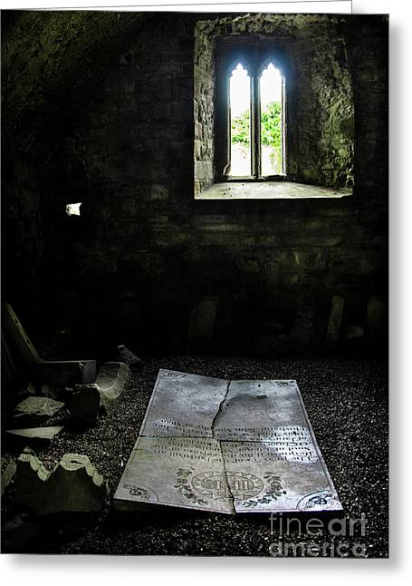 Greeting Card featuring the photograph A Tombstone In Sligo Abbey by RicardMN Photography