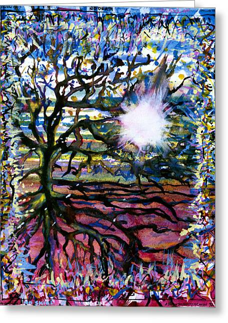 A Tree In The Country For Shitao Greeting Card by Tom Hefko