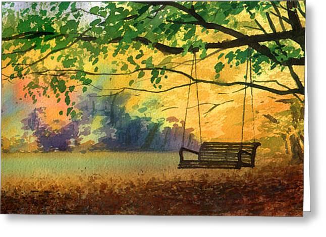 A Tree Swing Greeting Card by Sergey Zhiboedov
