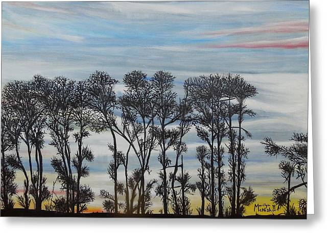 Greeting Card featuring the painting A Treeline Silhouette by Marilyn  McNish