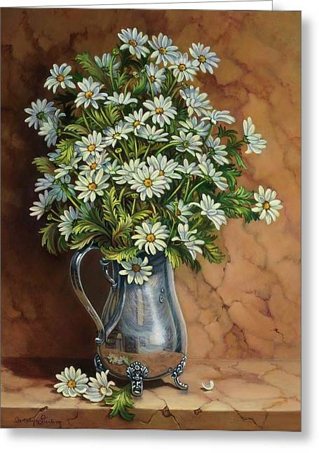 Still Life With Pitcher Greeting Cards - A Tribute to Lupetti Greeting Card by Carolyn Sterling