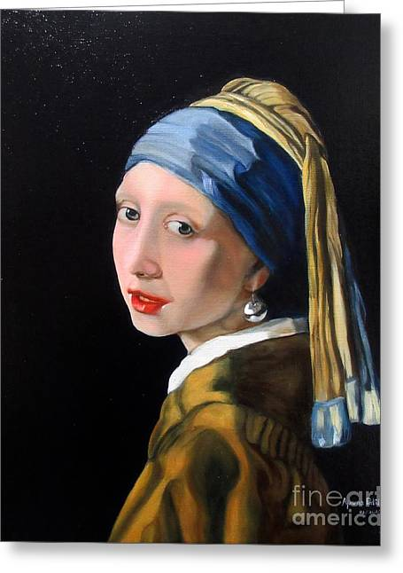 A Tribute To Vermeer - Girl With A Pearl Earring Greeting Card by Aparna Patil