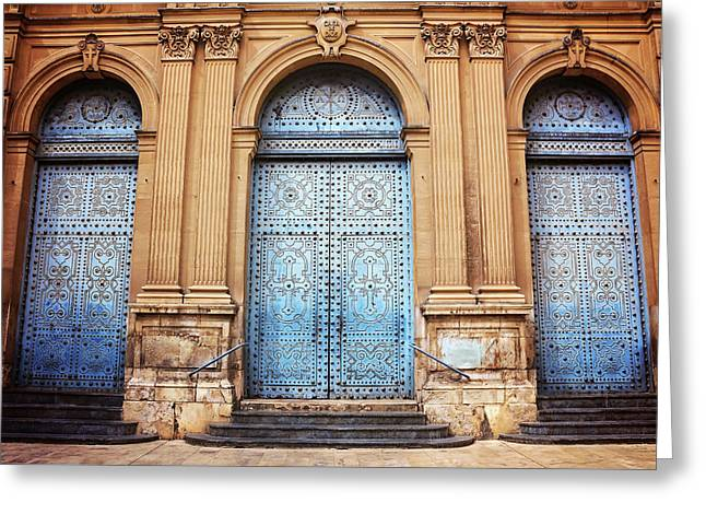A Trio Of Doors In Valencia Spain Greeting Card by Carol Japp