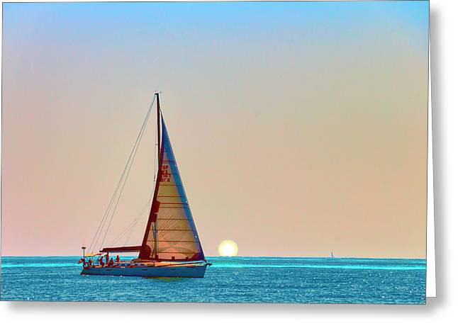 A Trip On A Yacht, Probably One Of The Most Romantic Adventure Vacation Greeting Card by George Westermak