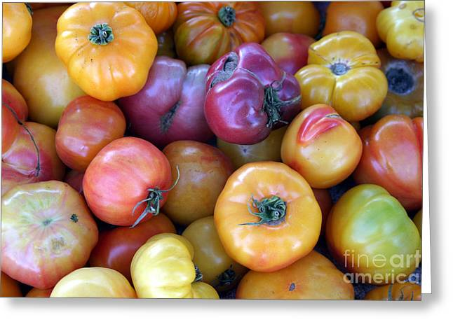 A Trip Through The Farmers Market Featuring Heirloom Tomatoes. Greeting Card by Michael Ledray