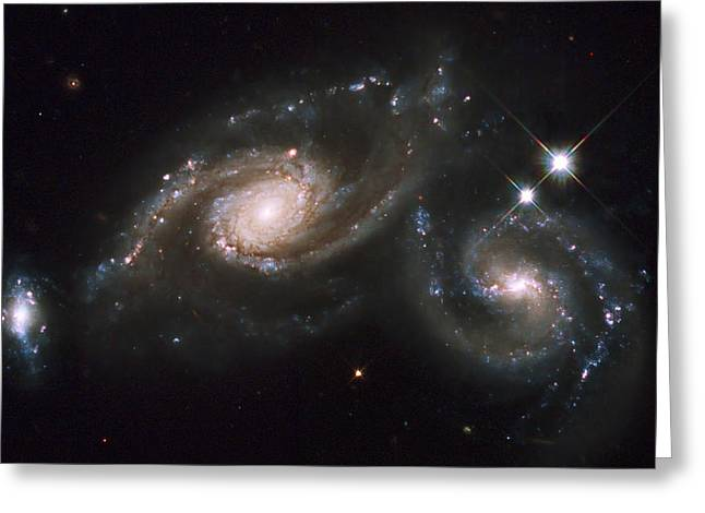 Starforming Greeting Cards - A Triplet Of Galaxies Known As Arp 274 Greeting Card by Stocktrek Images