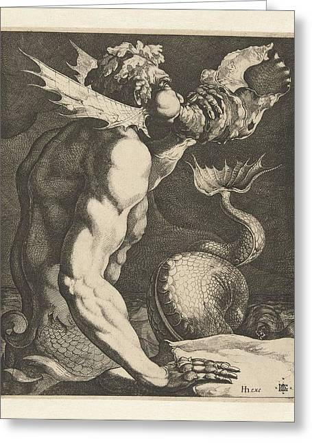 A Triton Blowing A Conch Greeting Card by Celestial Images