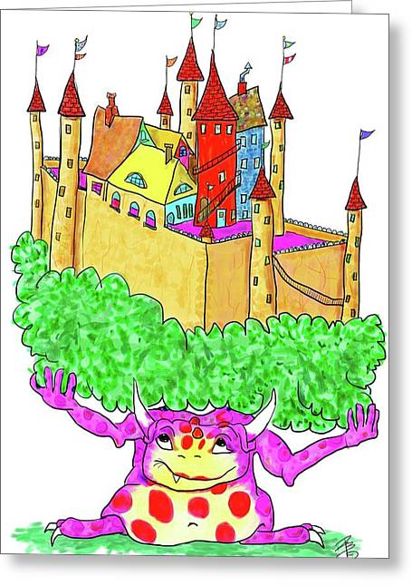 A Troll And Her Castle Greeting Card