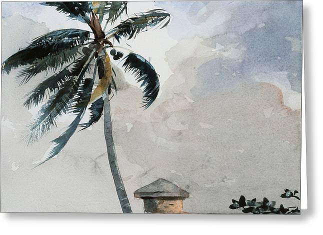 A Tropical Breeze Greeting Card by Winslow Homer