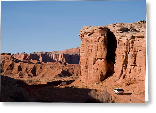 A Truck Drives Through The Desert Greeting Card by Taylor S. Kennedy