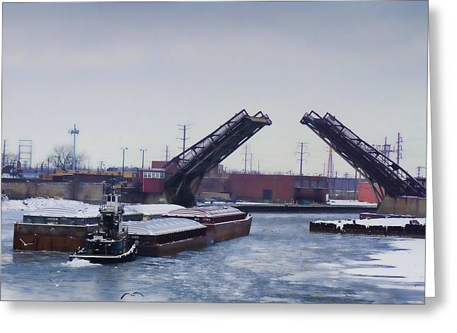 A Tug Boat Pushing A Barge Out To The Lake Greeting Card