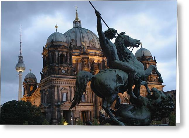Berlin Cathedral Greeting Cards - A Twilight View Of The Berlin Cathedral Greeting Card by Jim Webb
