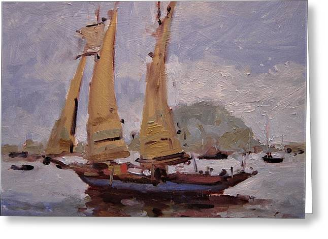 A Two Master Sails Into Morro Bay Greeting Card