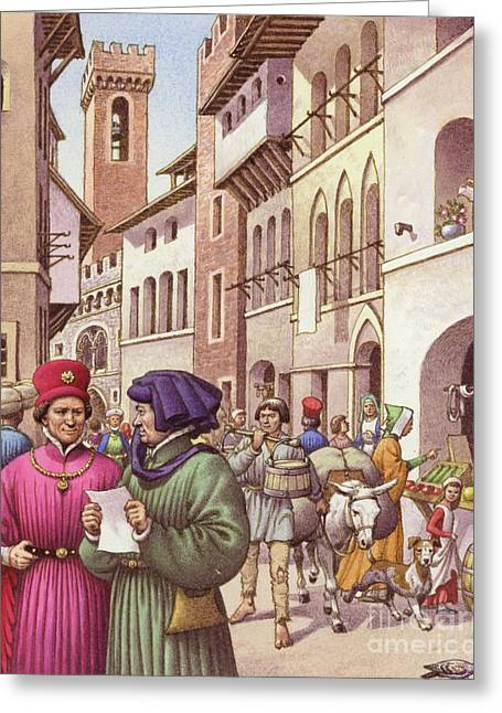 A Typical Street Scene In Florence In The Early 15th Century  Greeting Card by Pat Nicolle