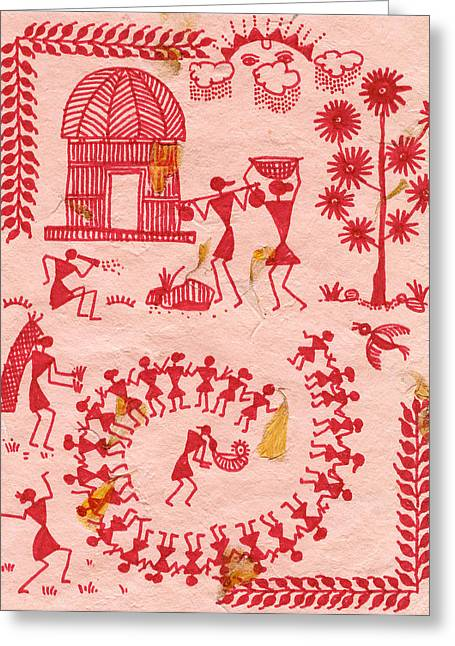 Warli Framed Prints Greeting Cards - A typical Warli day Greeting Card by Subhash Limaye