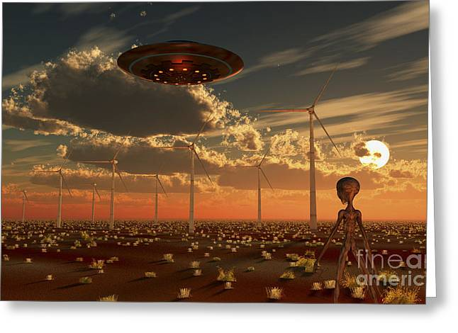 A Ufo And Alien On A Desert Wind Farm Greeting Card by Mark Stevenson