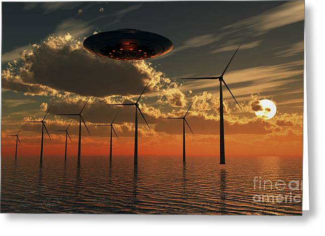 A Ufo Flying Above An Ocean Wind Farm Greeting Card