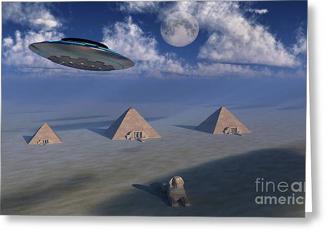 A Ufo Flying Over The Giza Plateau Greeting Card