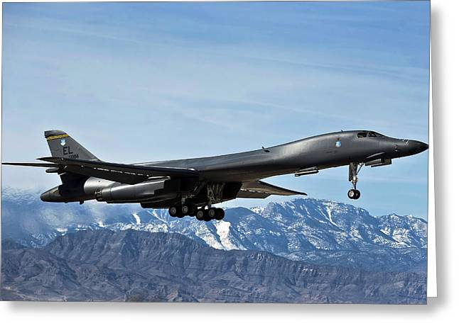 Landing Gear Greeting Cards - A U.s. Air Force B-1b Lancer Departs Greeting Card by Stocktrek Images