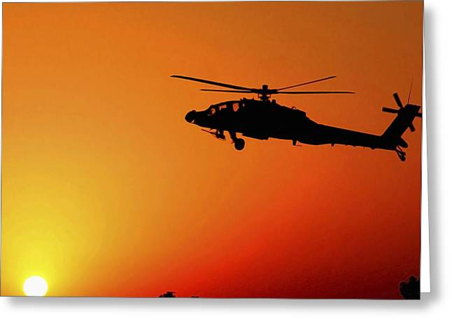 Iraq Greeting Cards - A U.s. Army A-64 Apache Helicopter Greeting Card by Stocktrek Images