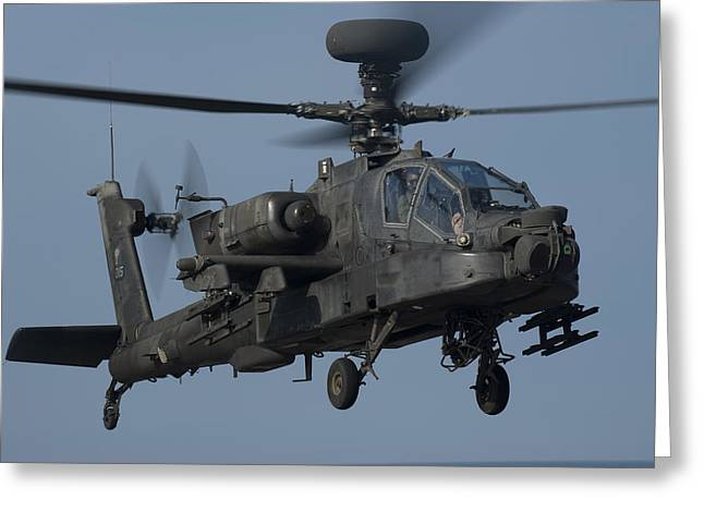 Rotorcraft Photographs Greeting Cards - A U.s. Army Ah-64 Apache Helicopter Greeting Card by Stocktrek Images