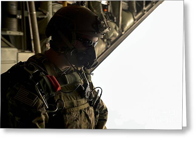 A U.s. Army Green Beret Waits To Jump Greeting Card by Stocktrek Images