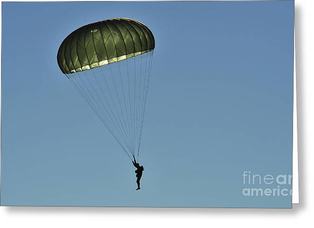 A U.s. Army Paratrooper Participates Greeting Card by Stocktrek Images