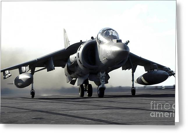 Airstrip Greeting Cards - A U.s. Marine Corps Av-8b Harrier Greeting Card by Stocktrek Images