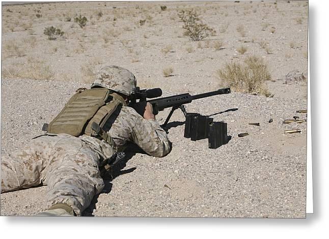 Three-quarter Length Greeting Cards - A U.s. Marine Zeros His M107 Sniper Greeting Card by Stocktrek Images
