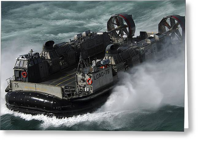 A U.s. Navy Landing Craft Air Cushion Greeting Card by Stocktrek Images