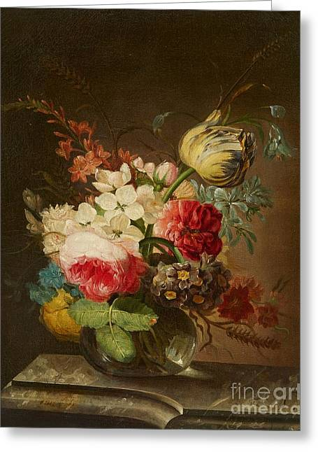 A Vase Of Flowers On A Marble Ledge Greeting Card