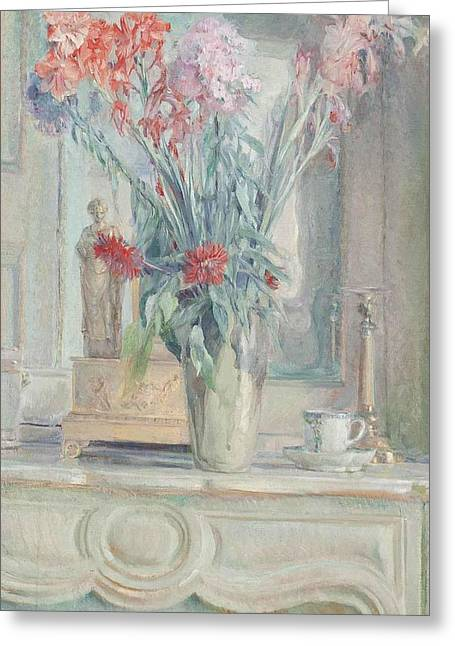 A Vase Of Flowers With A Teacup On A Table Greeting Card