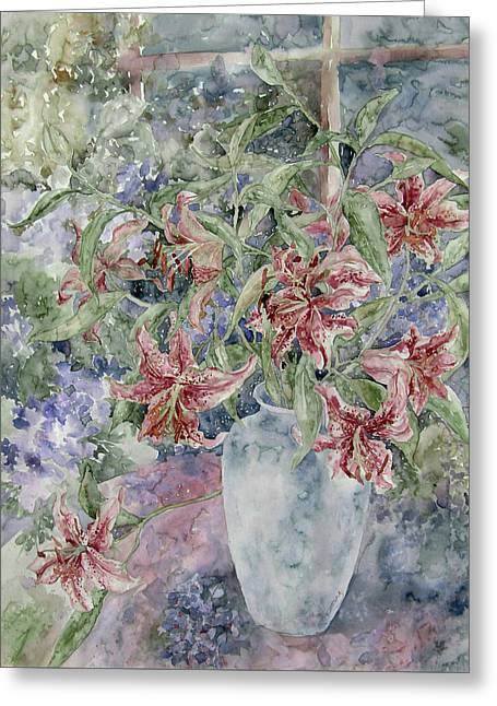 A Vase Of Lilies Greeting Card