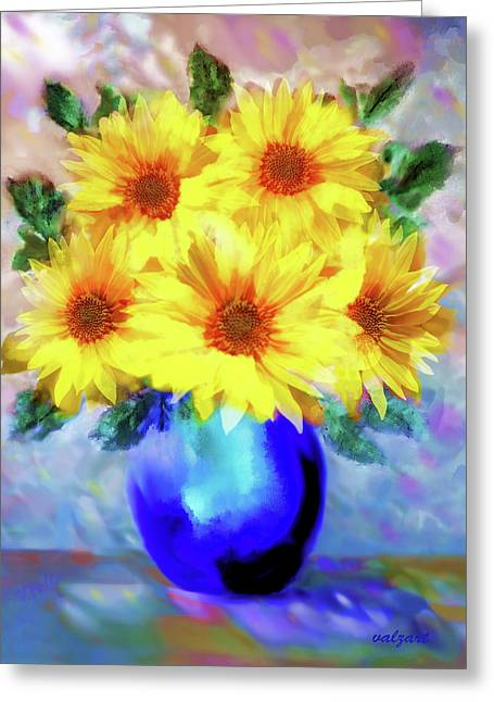 A Vase Of Sunflowers Greeting Card