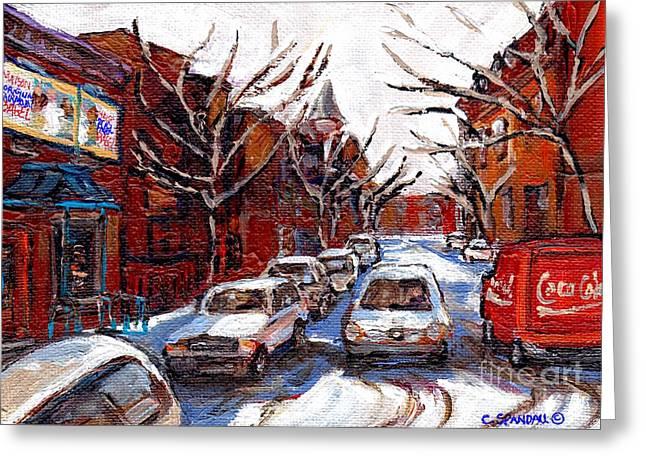 A Vendre Petits Formats L'art De Montreal Best Montreal Scenes For Sale Fairmount Bagel Shop Spandau Greeting Card