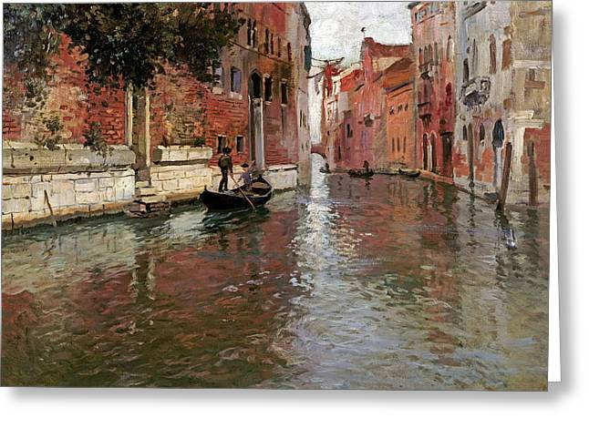 A Venetian Backwater Greeting Card by Frits Thaulow