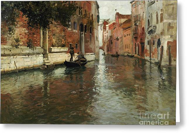 Medieval Greeting Cards - A Venetian Backwater  Greeting Card by Fritz Thaulow
