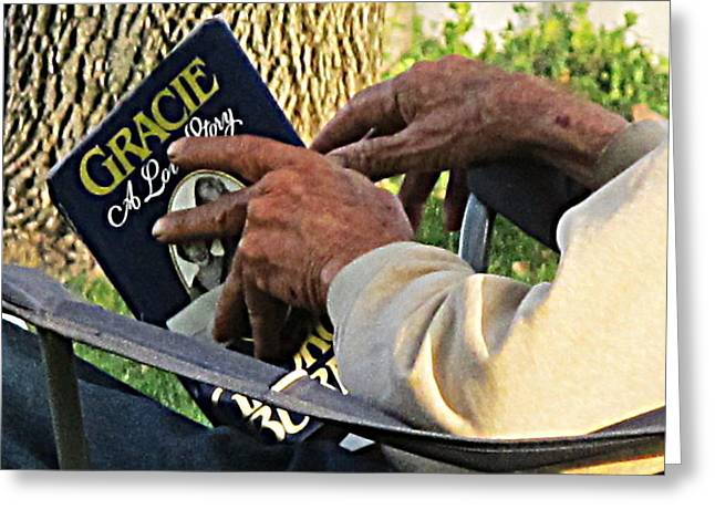 A Veteran Reads A Love Story Greeting Card by John King