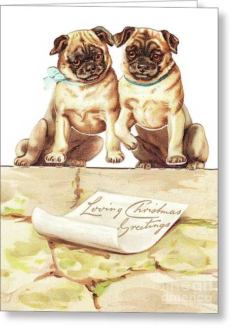 A Victorian Die Cut Three Dimensional Christmas Card Of Two Bulldogs Greeting Card