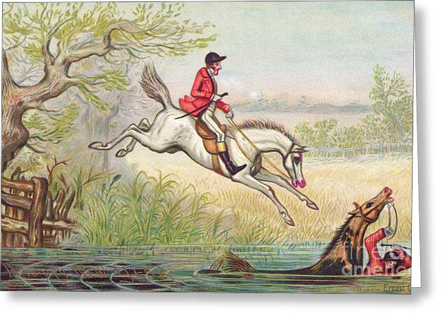 A Victorian New Year Card Of A Fox Hunt With A Huntsman And His Horse Falling In The River Greeting Card