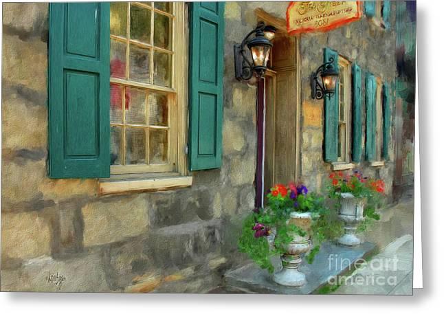 A Victorian Tea Room Greeting Card by Lois Bryan