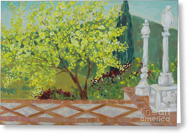 Greeting Card featuring the painting A View From Hearst Castle by Maria Langgle