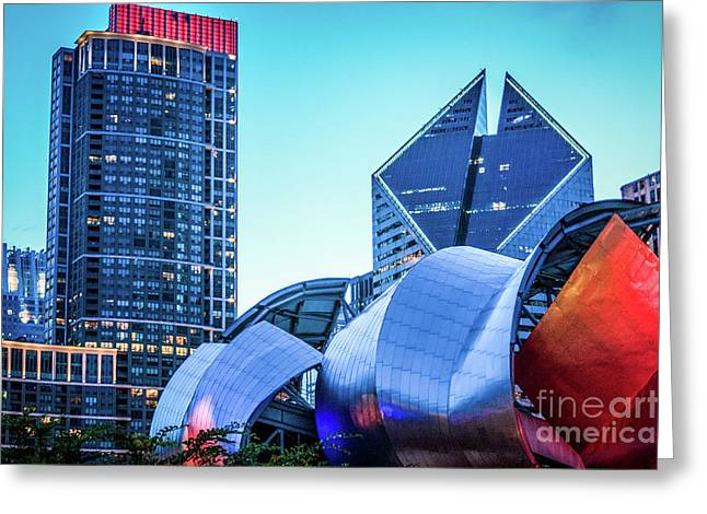 A View From Millenium Park At Dusk Greeting Card