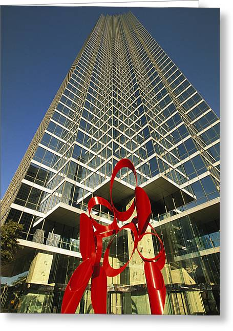 A View Of A Skyscraper With Modern Art Greeting Card